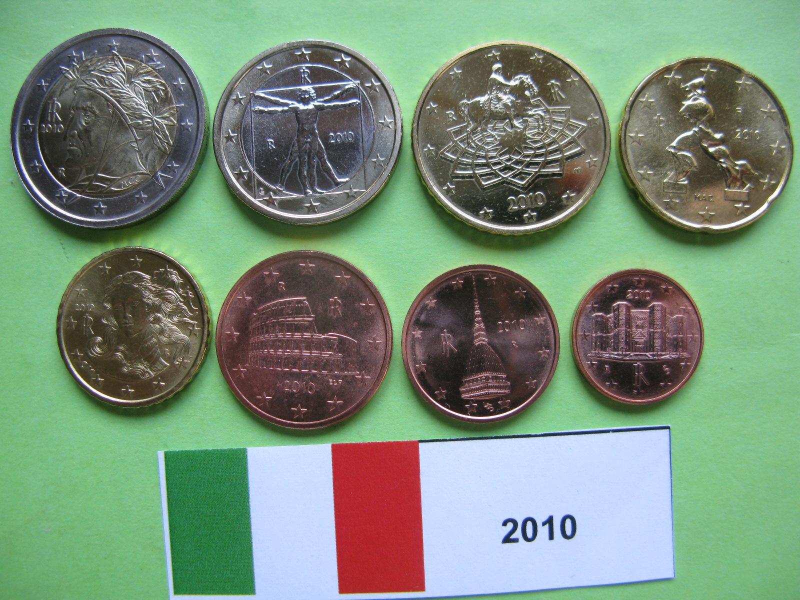 Италия набор евро 2010 UNC