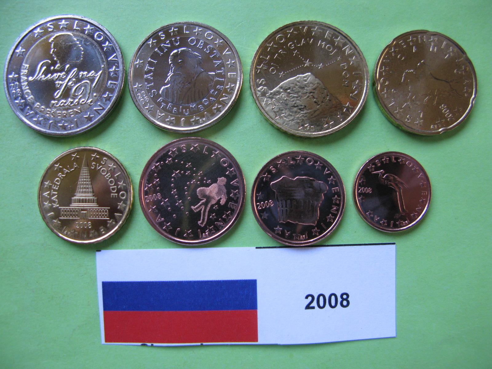 Словения набор евро  2008 г. UNC