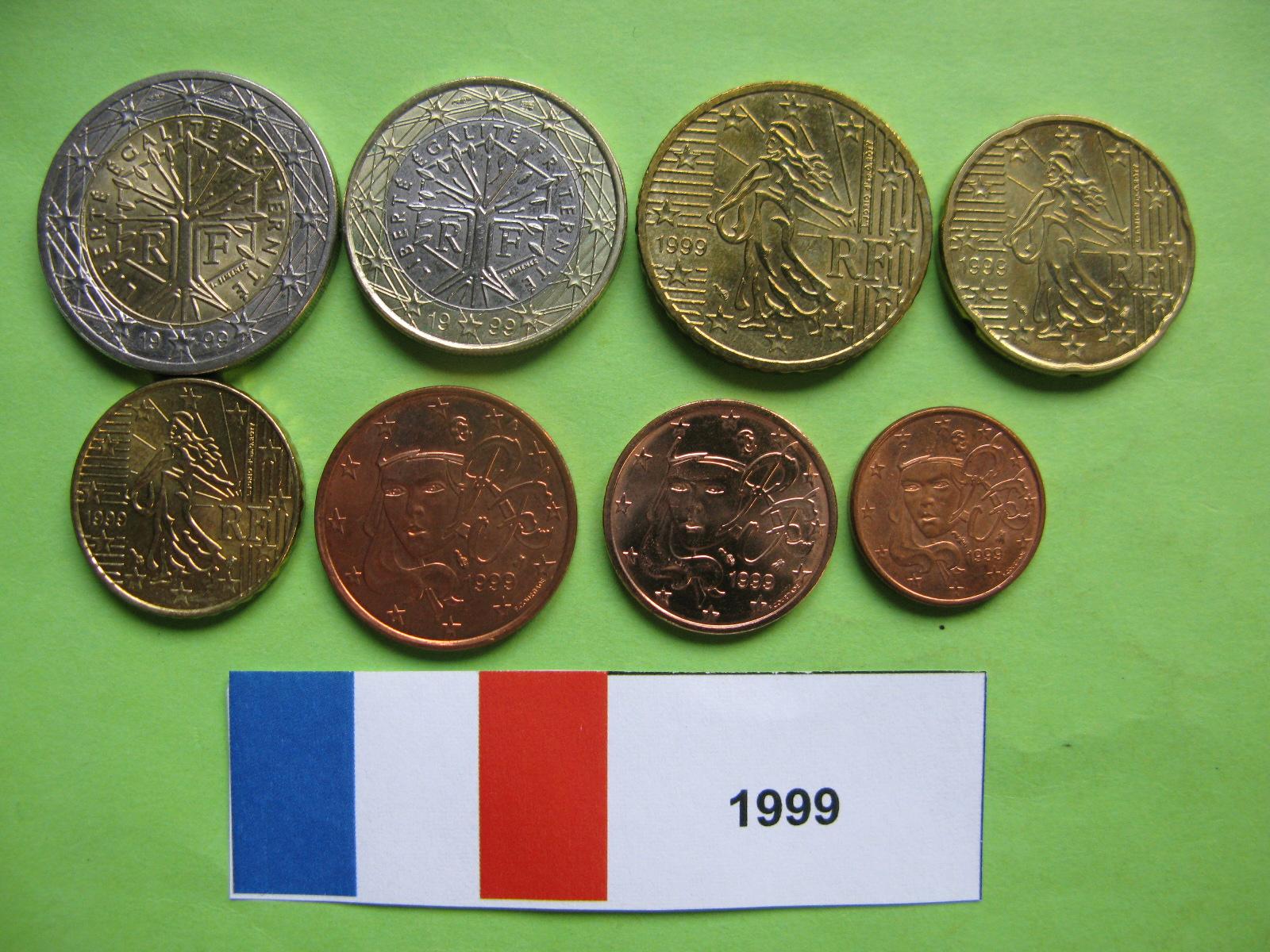 Франция  набор евро 1999 г. UNC
