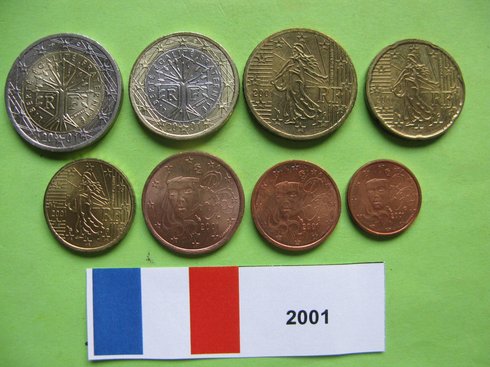 Франция  набор евро 2001 г. UNC