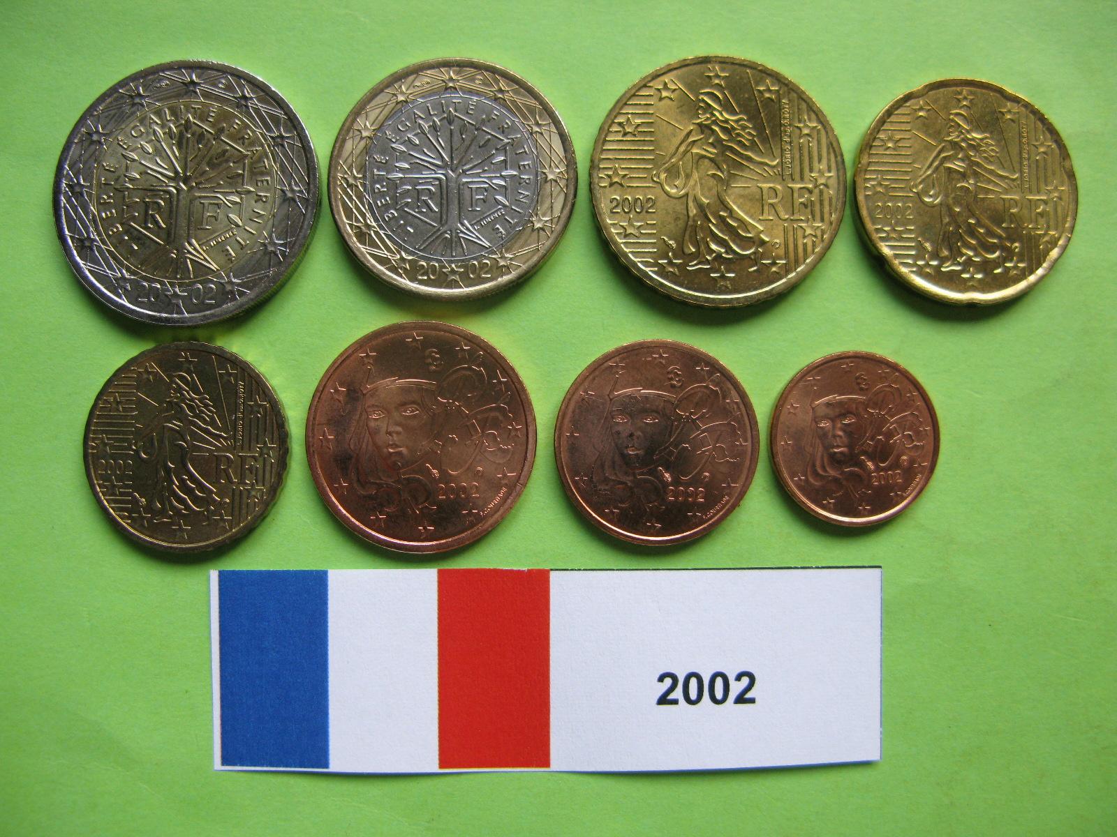 Франция  набор евро 2002 г. UNC
