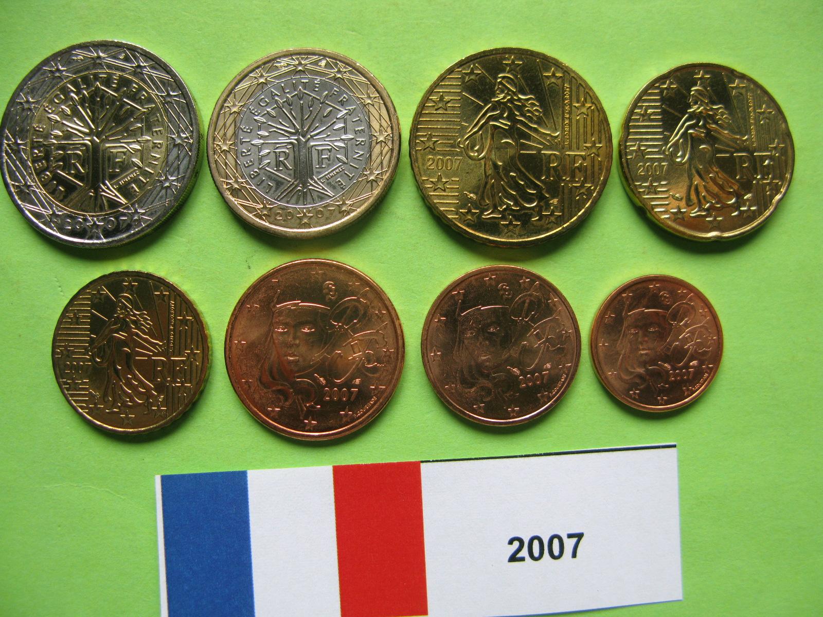 Франция  набор евро 2007 г. UNC