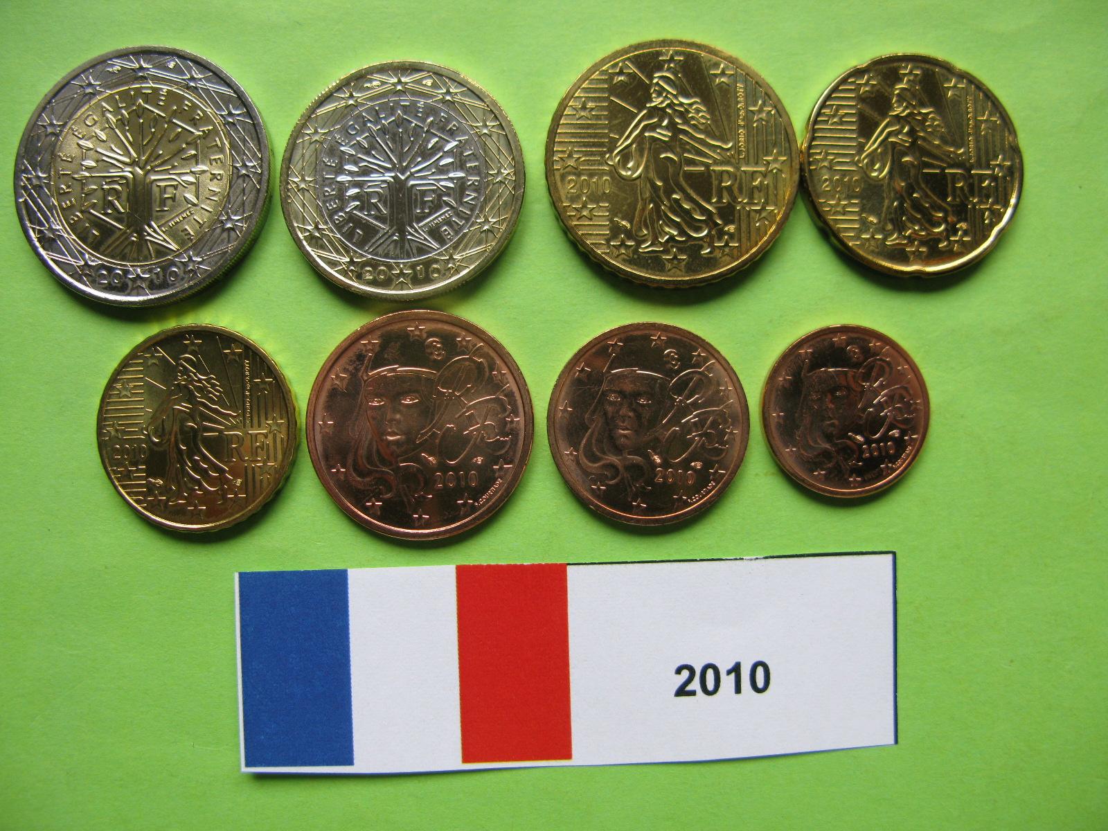 Франция  набор евро 2010 г. UNC
