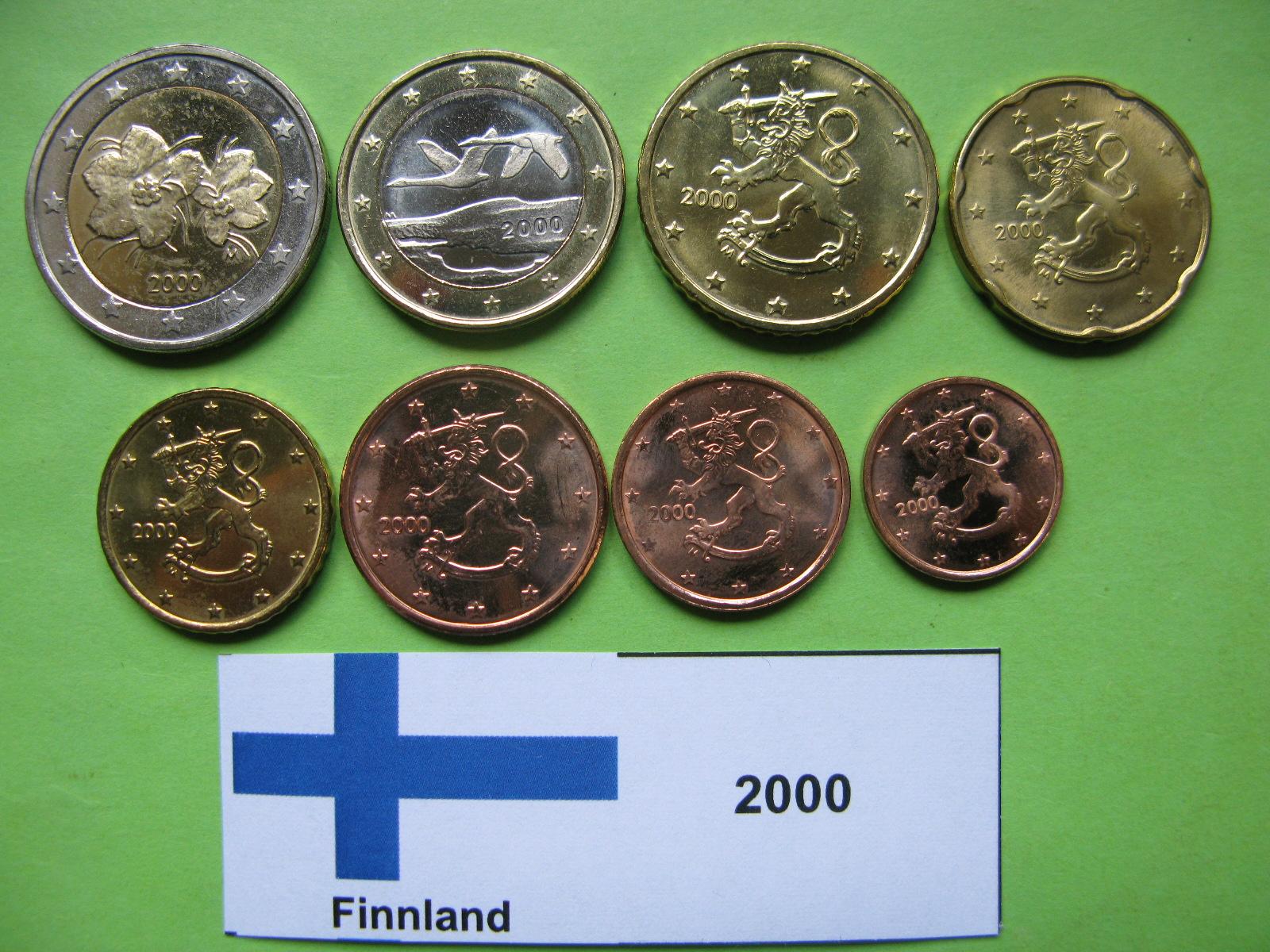 Финляндия набор евро 2000 г. UNC