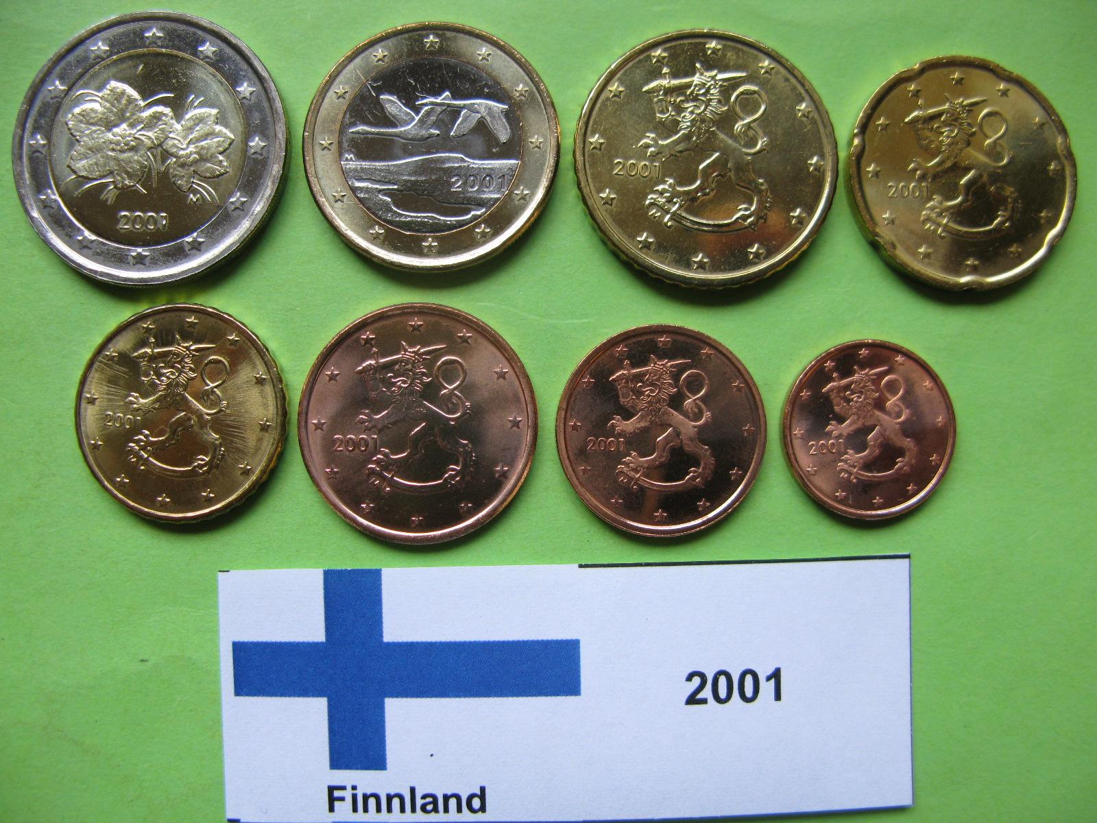 Финляндия набор евро 2001 г. UNC