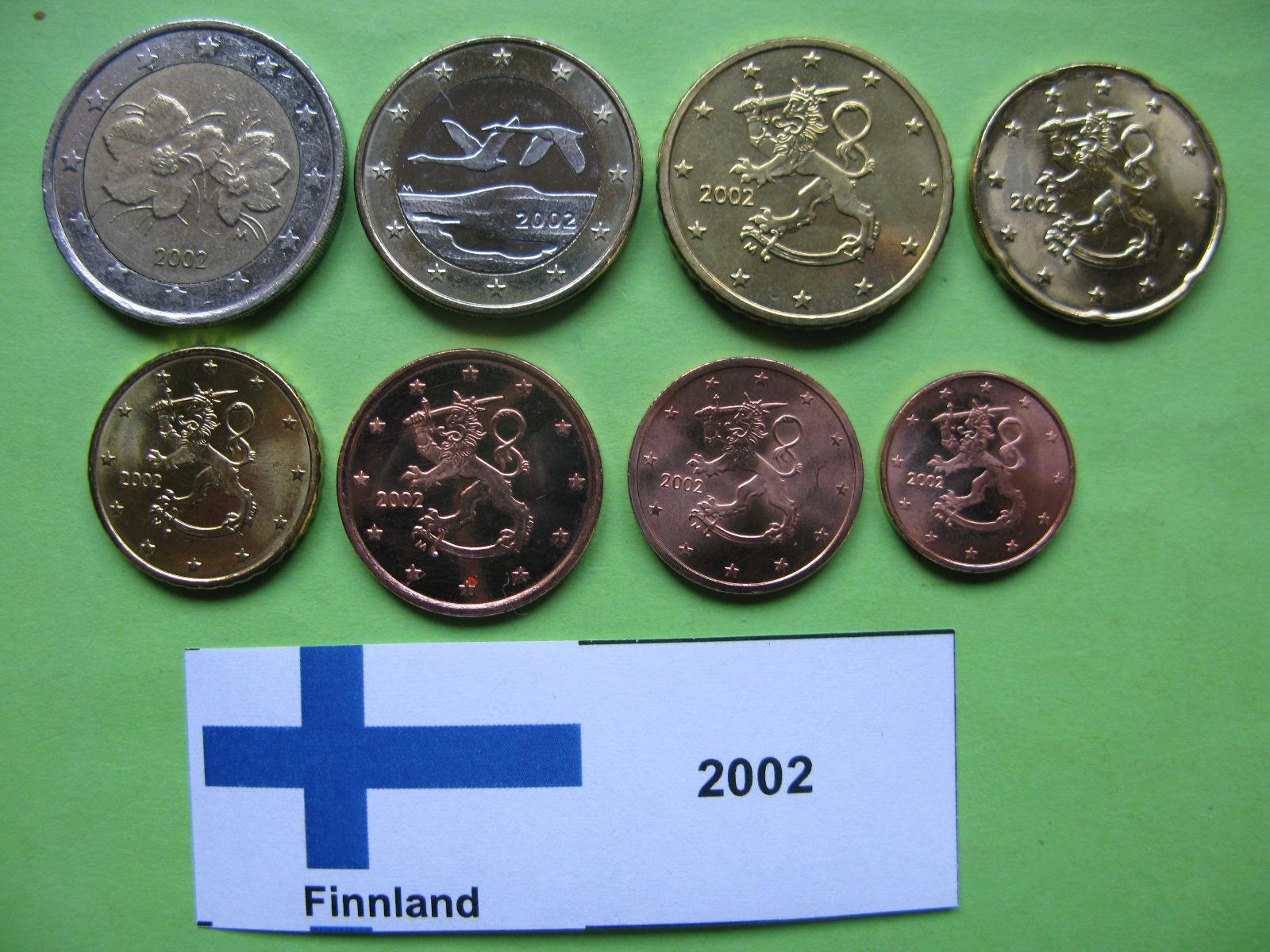Финляндия набор евро 2002 г. UNC