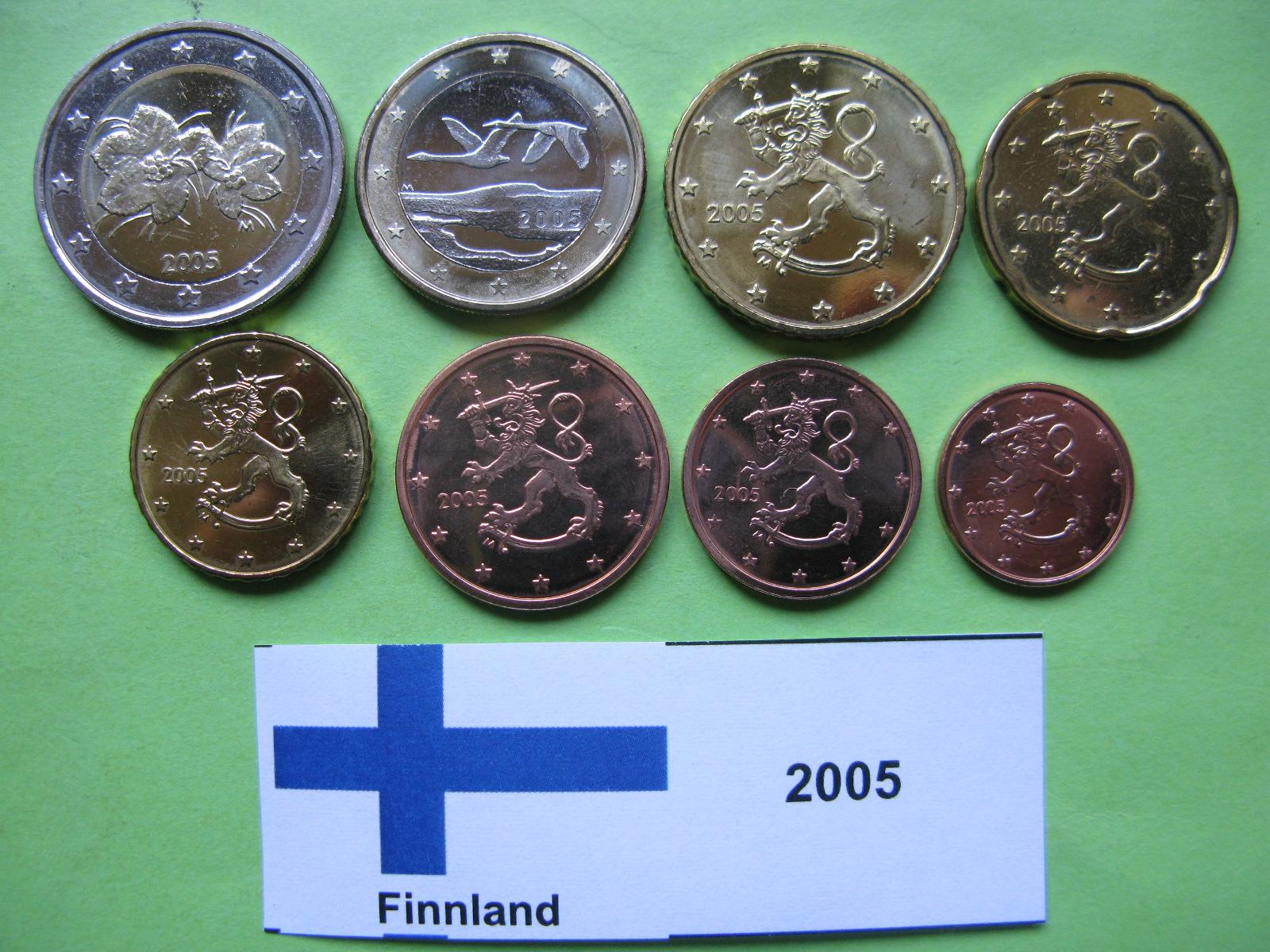 Финляндия набор евро 2005 г. UNC