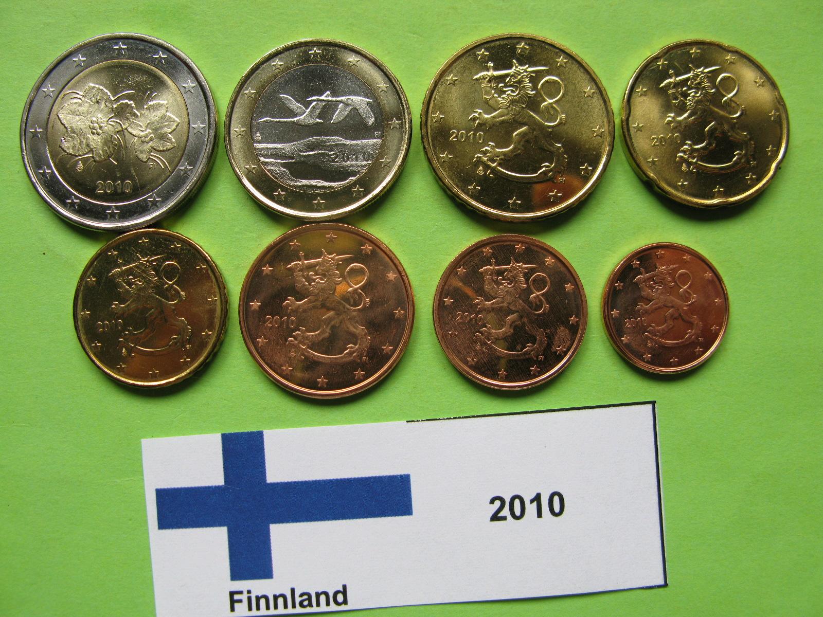 Финляндия набор евро 2010 г. UNC