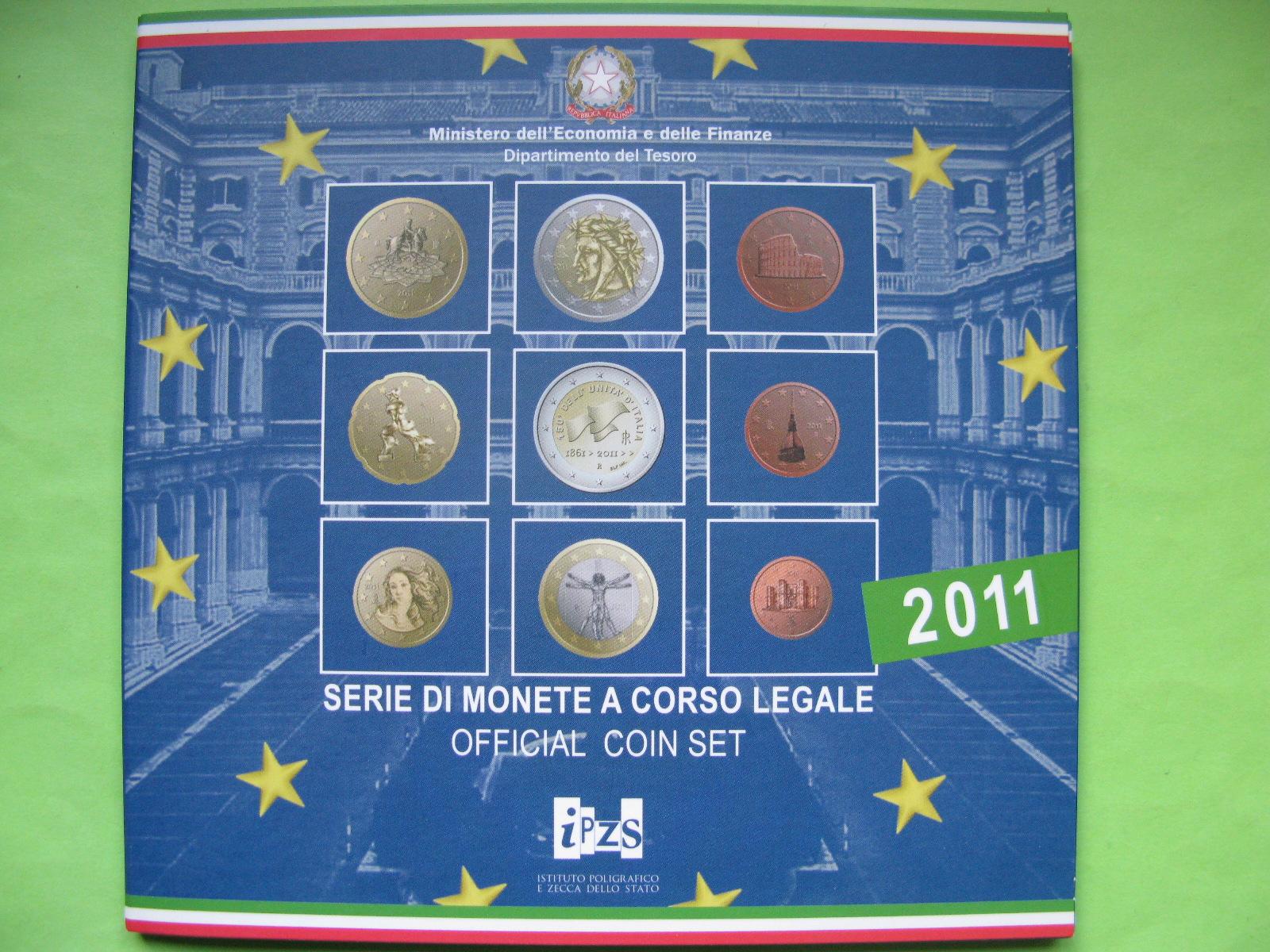 Италия официальный набор евро монет  2011 г.
