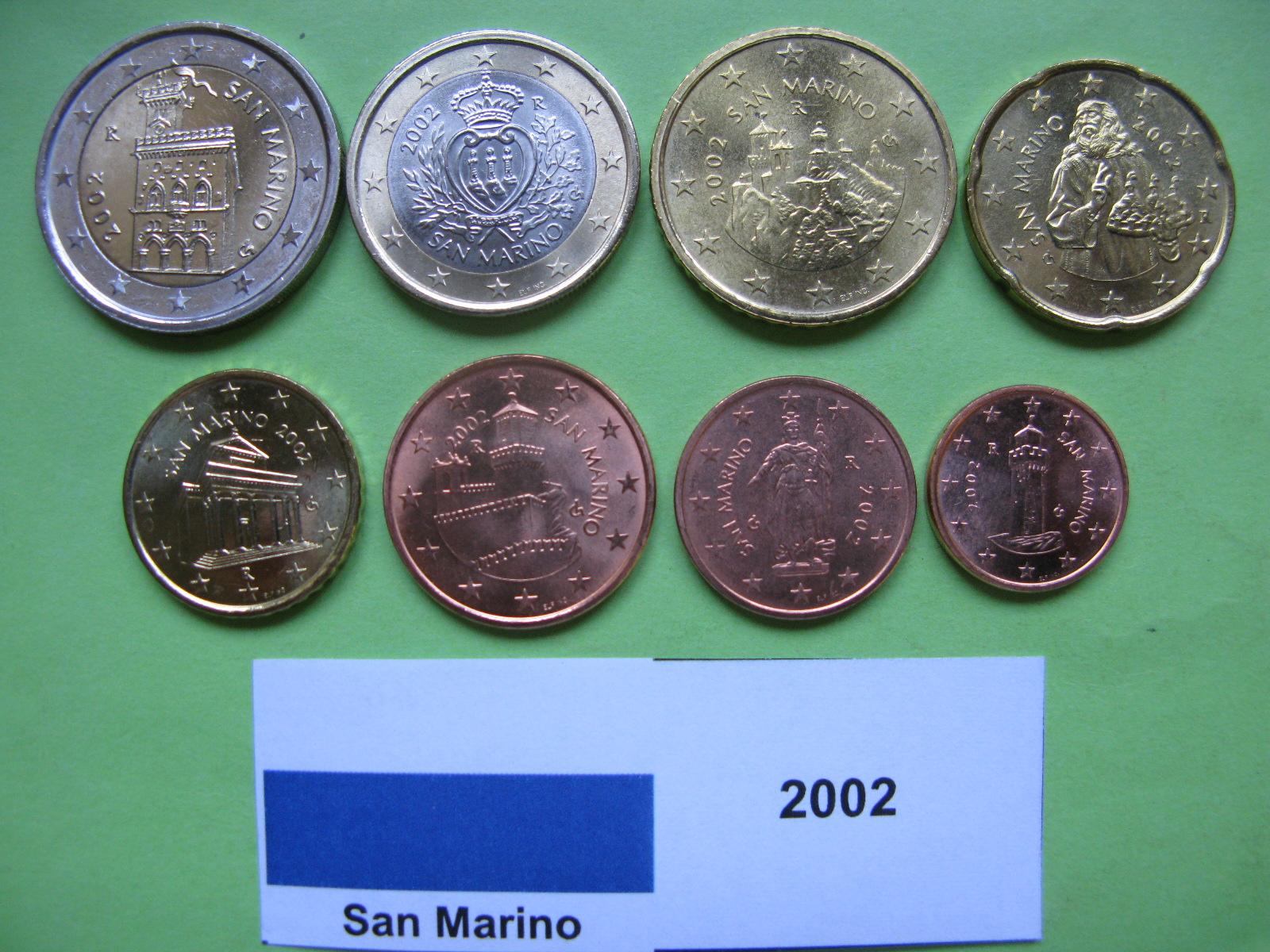 Сан Марино набор евро 2002 г. UNC