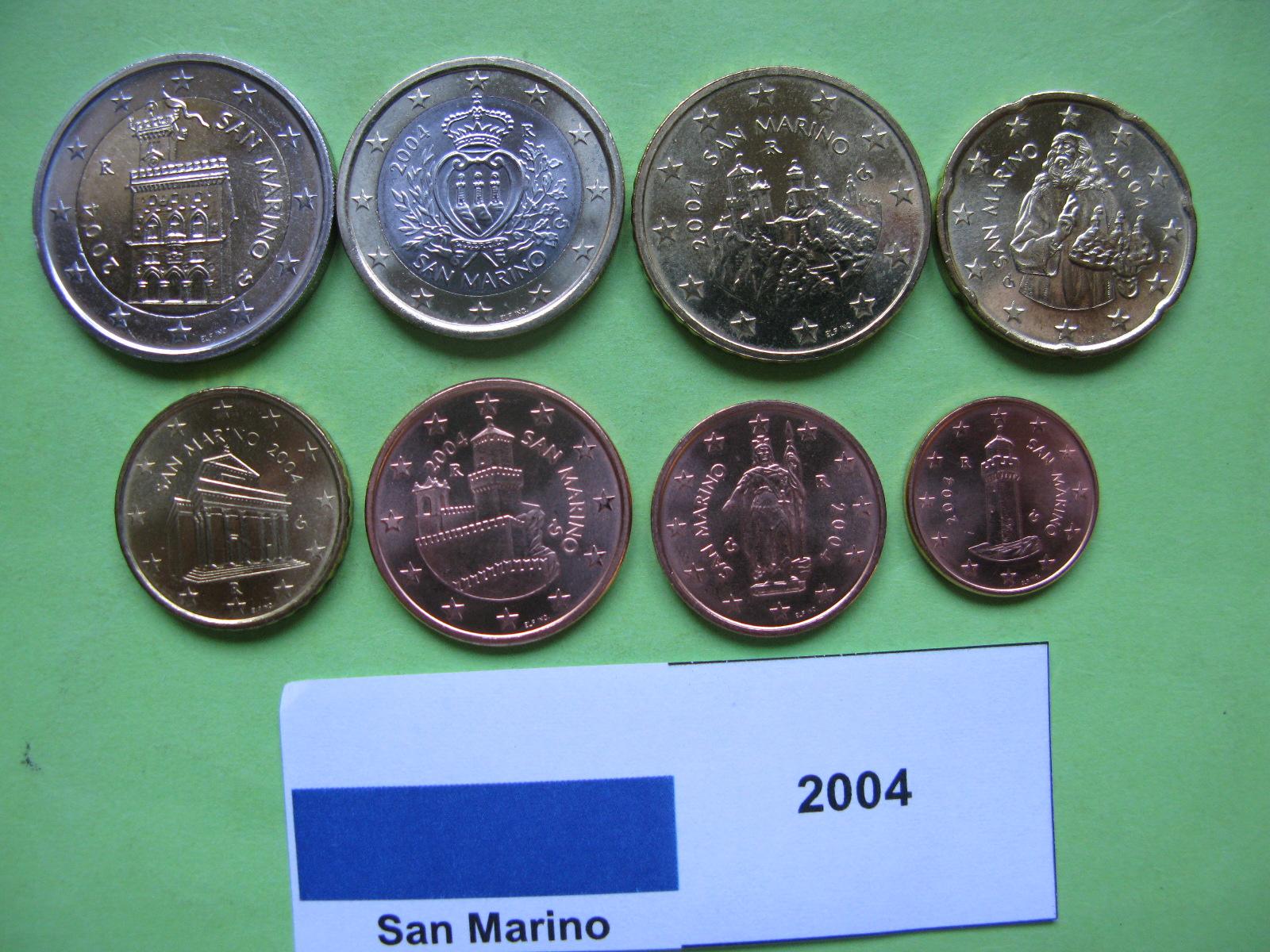 Сан Марино набор евро 2004 г. UNC