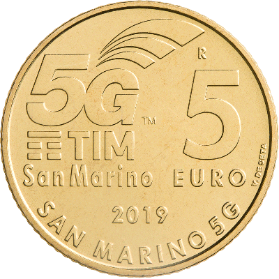 Сан Марино 5 евро 2019 г. Технология мобильной связи 5G