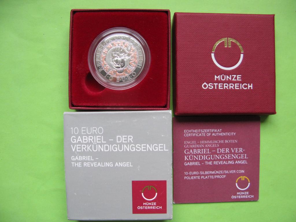 Австрия 10 евро 2017 г. Архангел Гавриил (пруф)