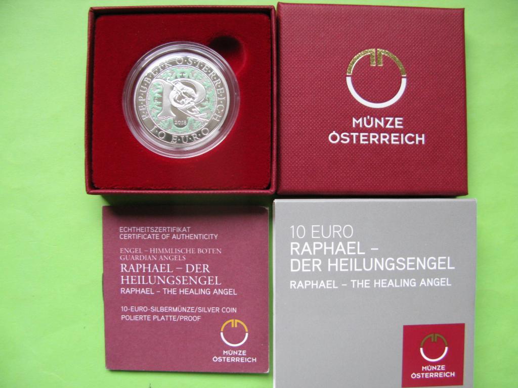Австрия 10 евро 2018 г. Архангел Рафаэль (пруф)