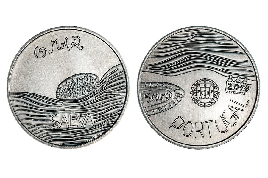 Португалия 5 евро 2019 г. Море , нарисованное ребёнком
