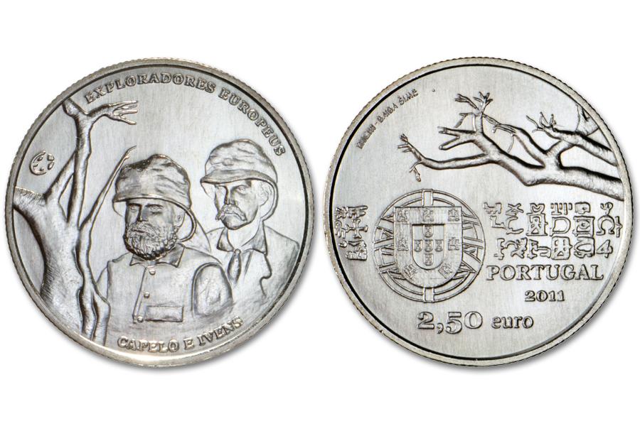 Португалия 2,5 евро 2011 г.Исследователи Капело и Ивенс