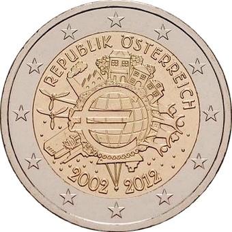 Австрия  2 евро 2012 г. 10 лет наличному евро