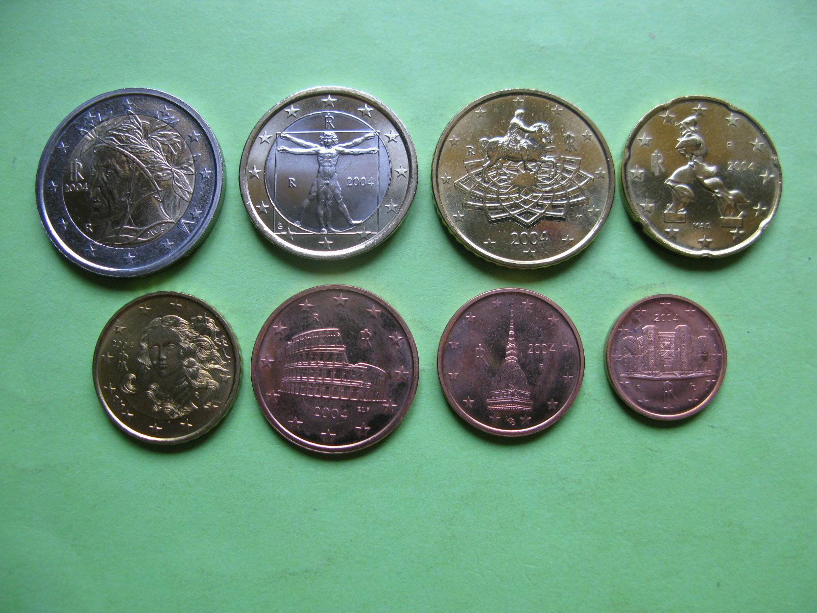 Италия набор евро 2004 UNC