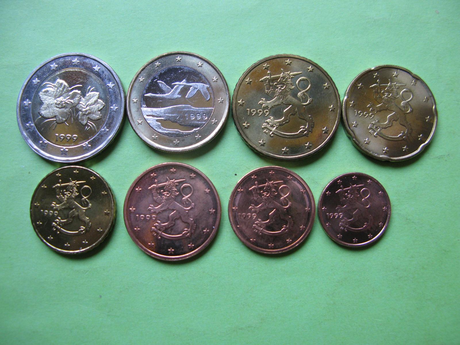 Финляндия набор евро 1999 г. UNC