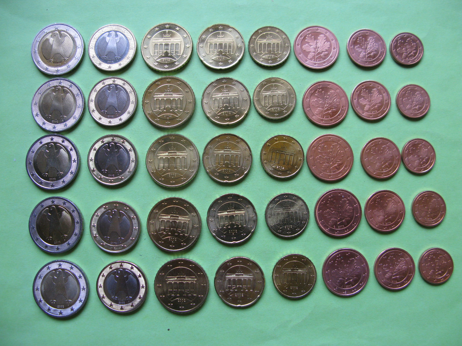 Германия набор евро 2002 г . A,D,F,G,J  UNC