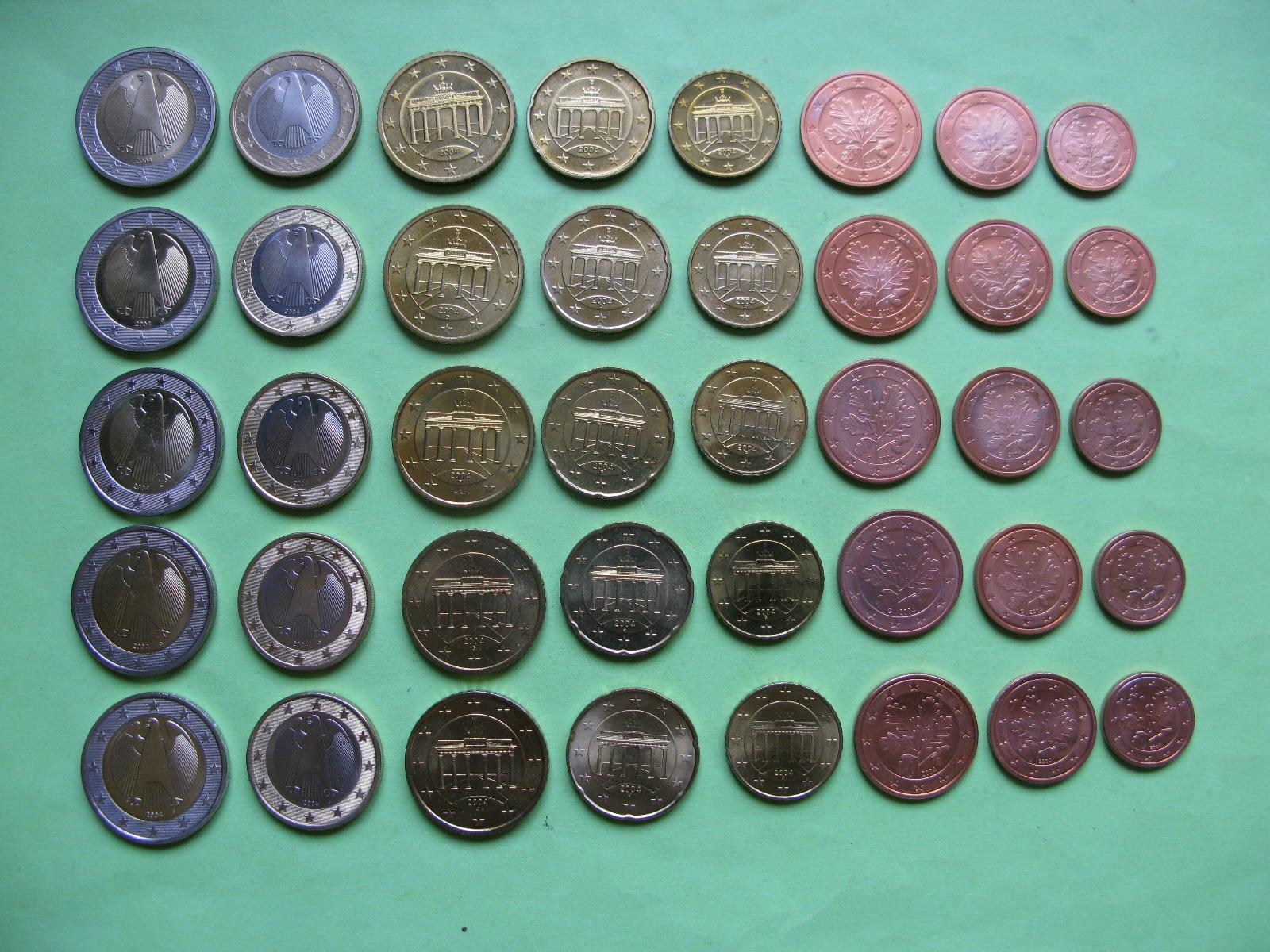 Германия набор евро 2004 г . A,D,F,G,J  UNC