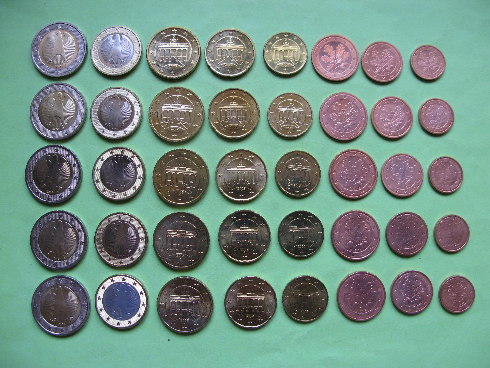 Германия набор евро 2005 г . A,D,F,G,J  UNC