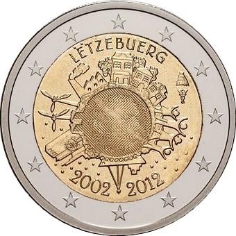Люксембург 2 евро 2012 10 лет наличному евро