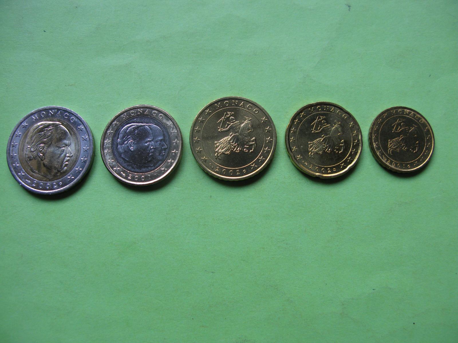 Монако набор евро 2002 г. (от 10 центов до 2 евро)