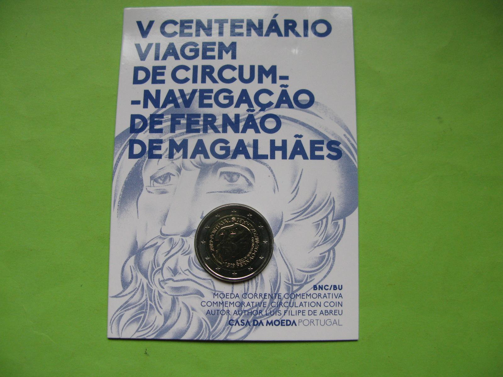 Португалия 2 евро 2019 г. 500-летие кругосветного плавания Магеллана ( в карточке)