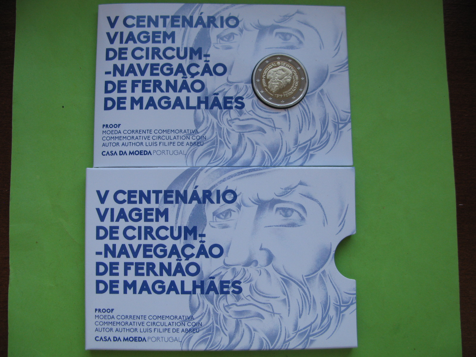 Португалия 2 евро 2019 г. 500-летие кругосветного плавания Магеллана ( пруф)