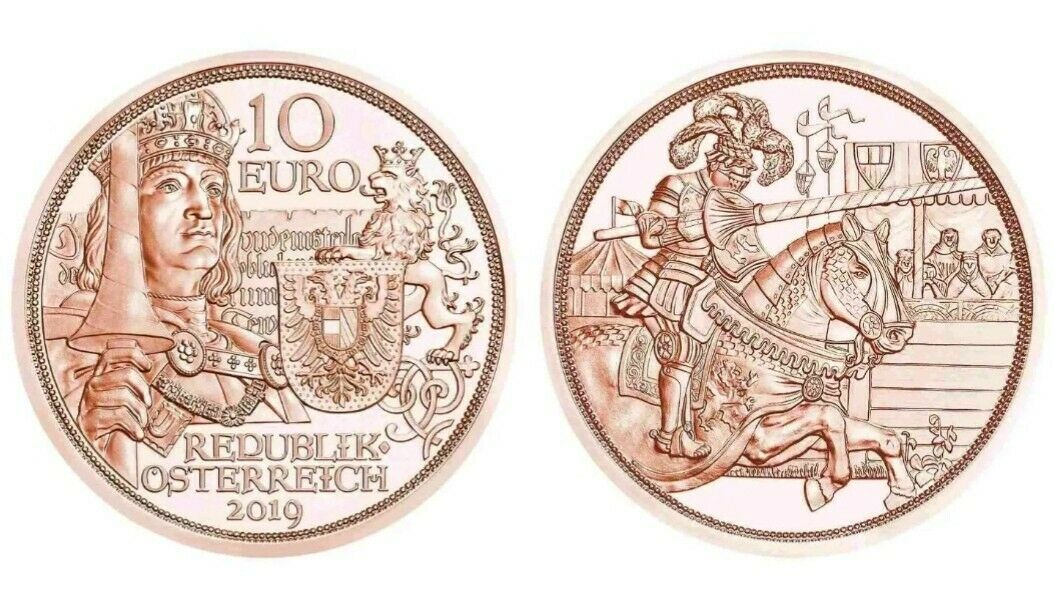 Австрия 10 евро 2019 г. С кольчугой и мечом - благородство