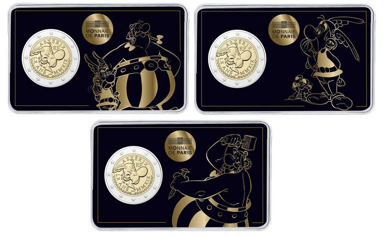 Франция 2 евро 2019 г. 60 лет Астериксу (комплект из трёх карточек)