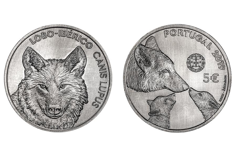 Португалия 5 евро 2019 г. Иберийский волк