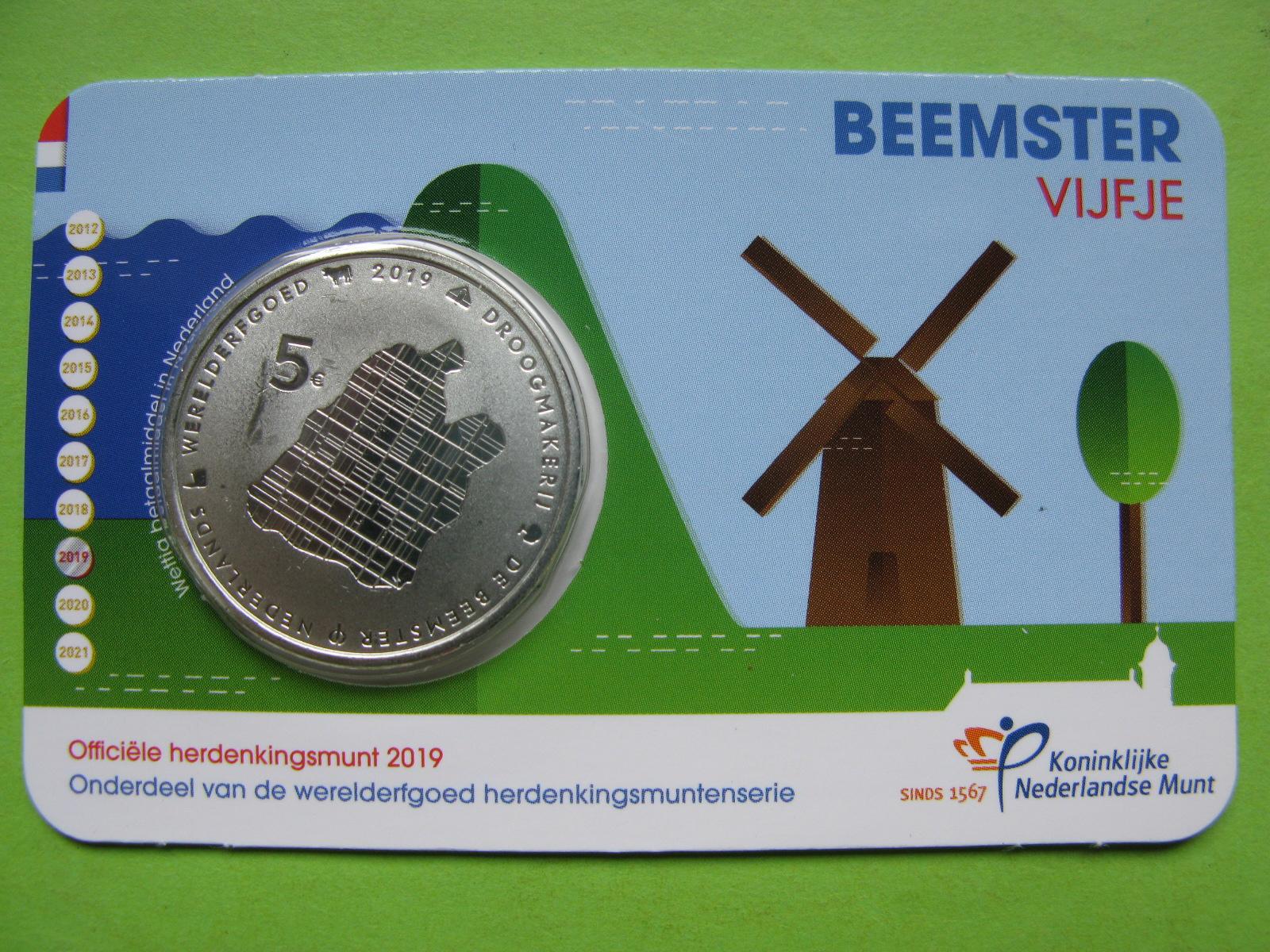 Нидерланды 5 евро 2019 г. Бемстер