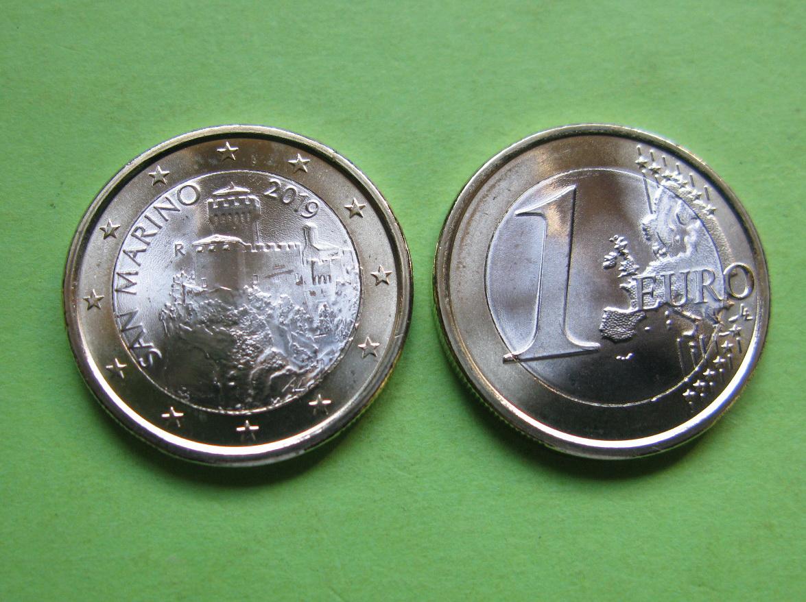 Сан Марино 1 евро 2019 г. UNC