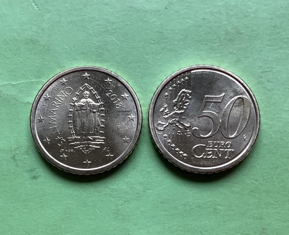 Сан Марино 50 евро  центов 2019 г. UNC