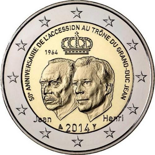 Люксембург 2 евро 2014  50 лет вступления на престол герцога Жана