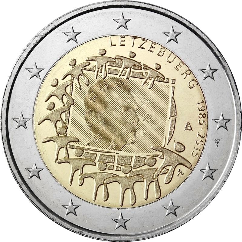 Люксембург 2 евро 2015 30 лет флагу Евросоюза