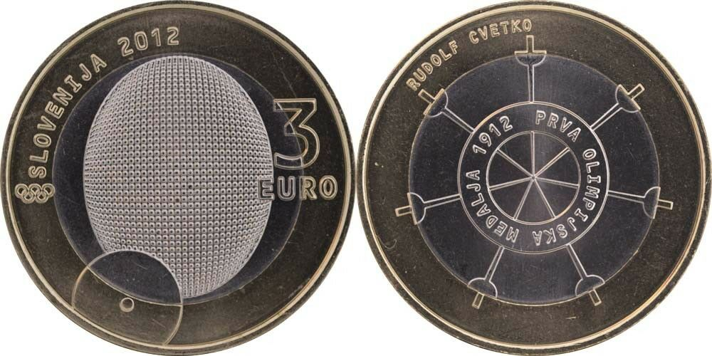 Словения 3 евро 2012 г. Олимпийская медаль.