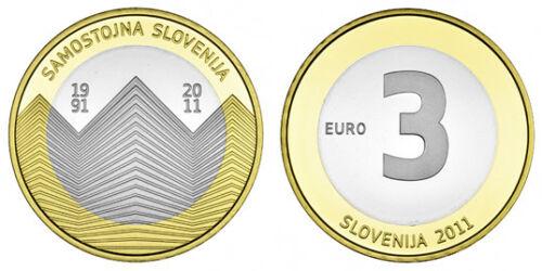 Словения 3 евро 2011 г. 20 лет независимости Словении