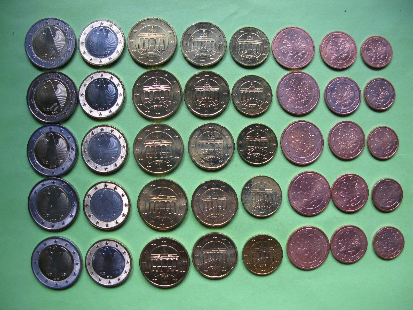 Германия набор евро 2008 г . A,D,F,G,J  UNC