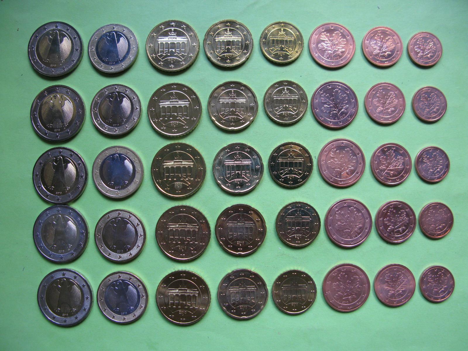 Германия набор евро 2009 г . A,D,F,G,J  UNC