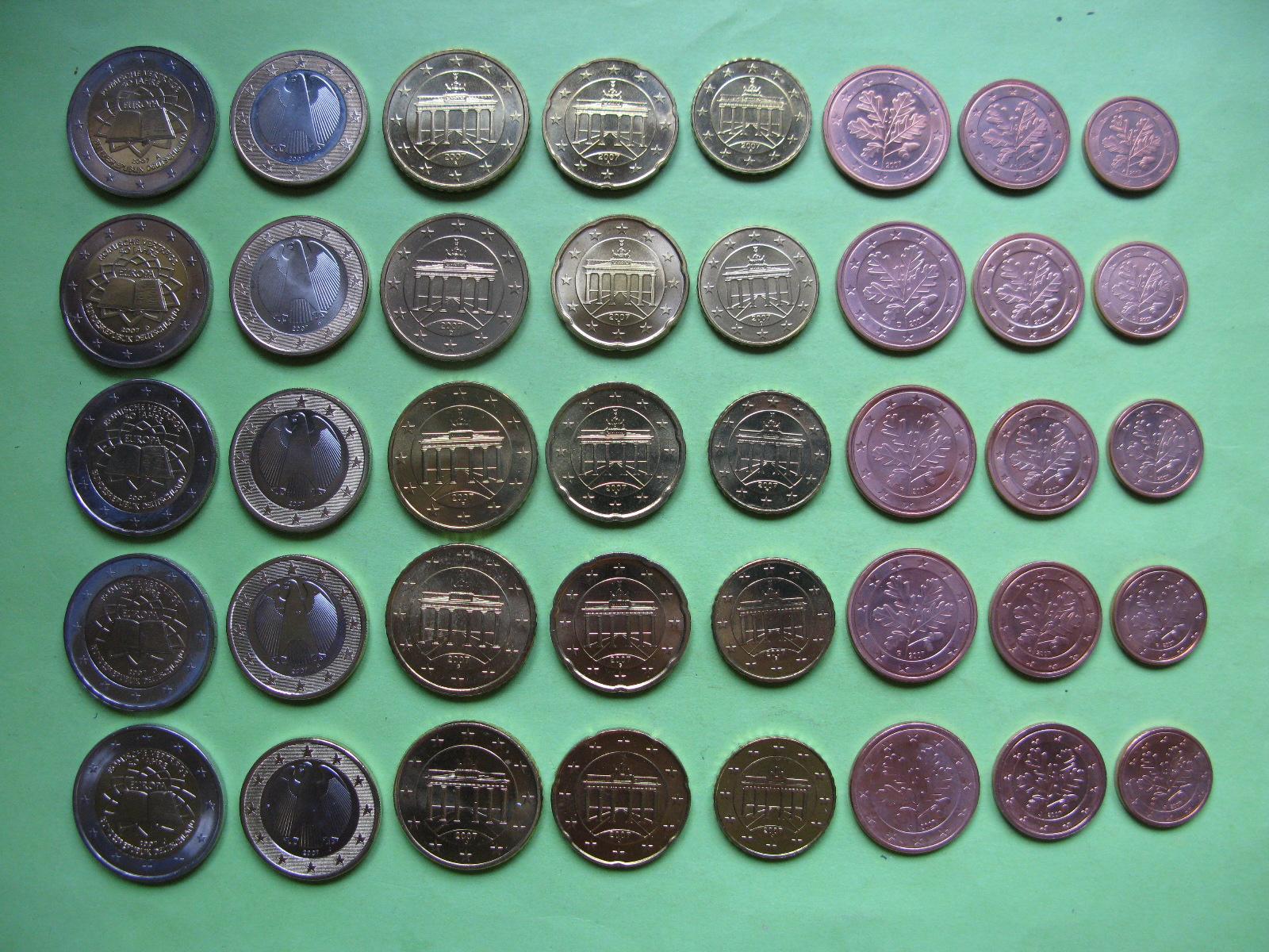 Германия набор евро 2007 г . A,D,F,G,J  UNC