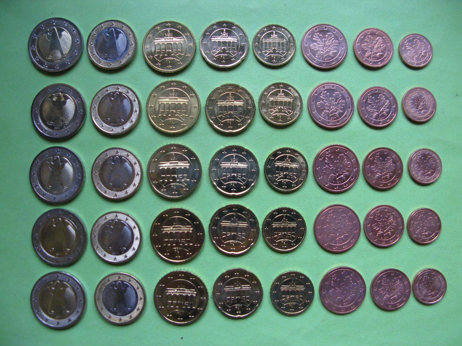 Германия набор евро 2011 г . A,D,F,G,J  UNC