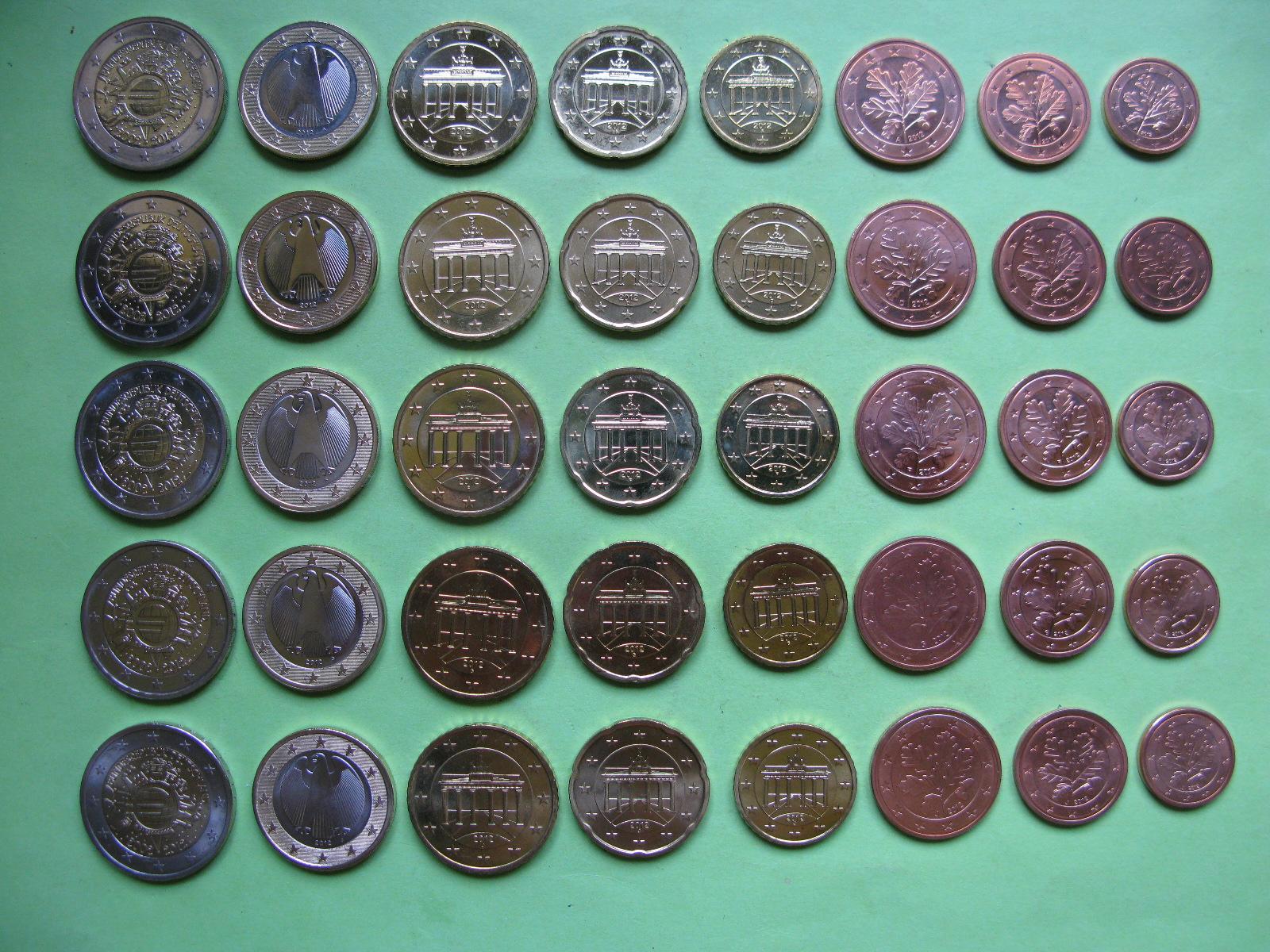 Германия набор евро 2012 г . A,D,F,G,J  UNC