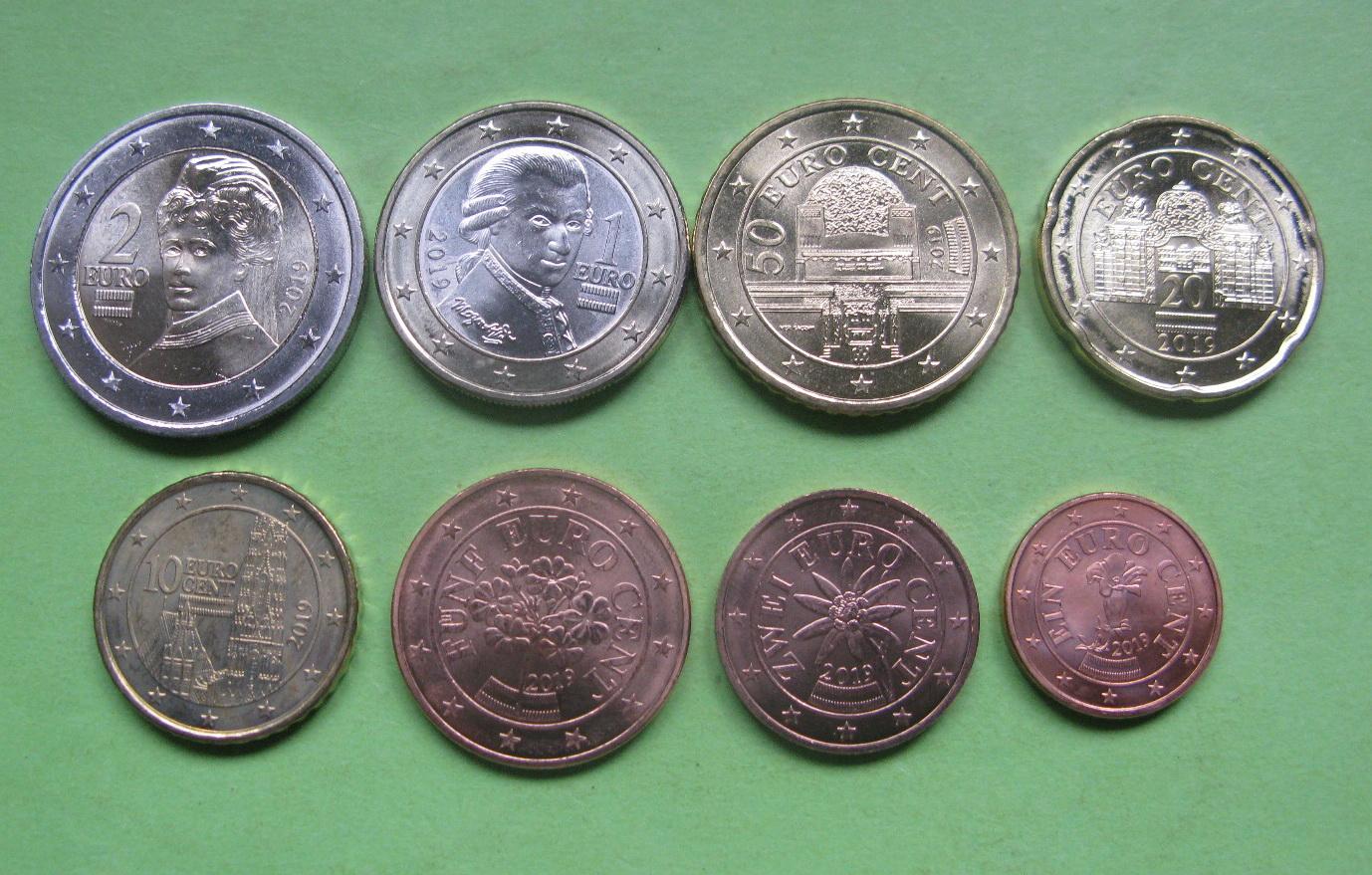 Австрия набор евро 2019 UNC