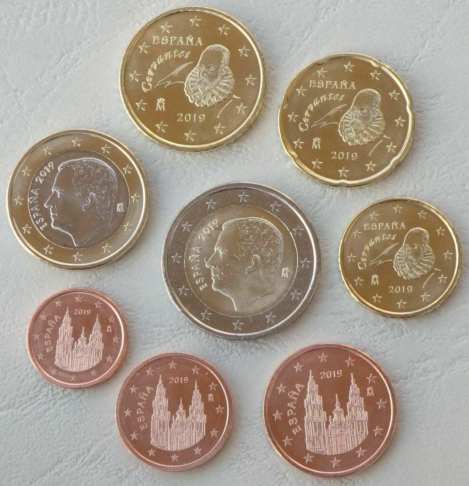 Испания набор евро 2019 UNC.