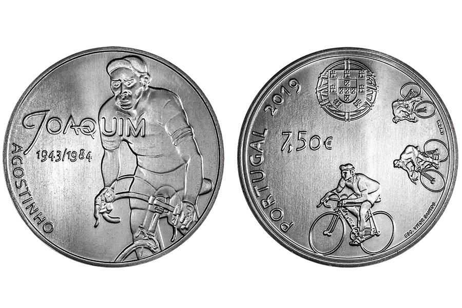 Португалия 7,5 евро 2019 г. Идолы Спорта - Жоаким Агостиньо .
