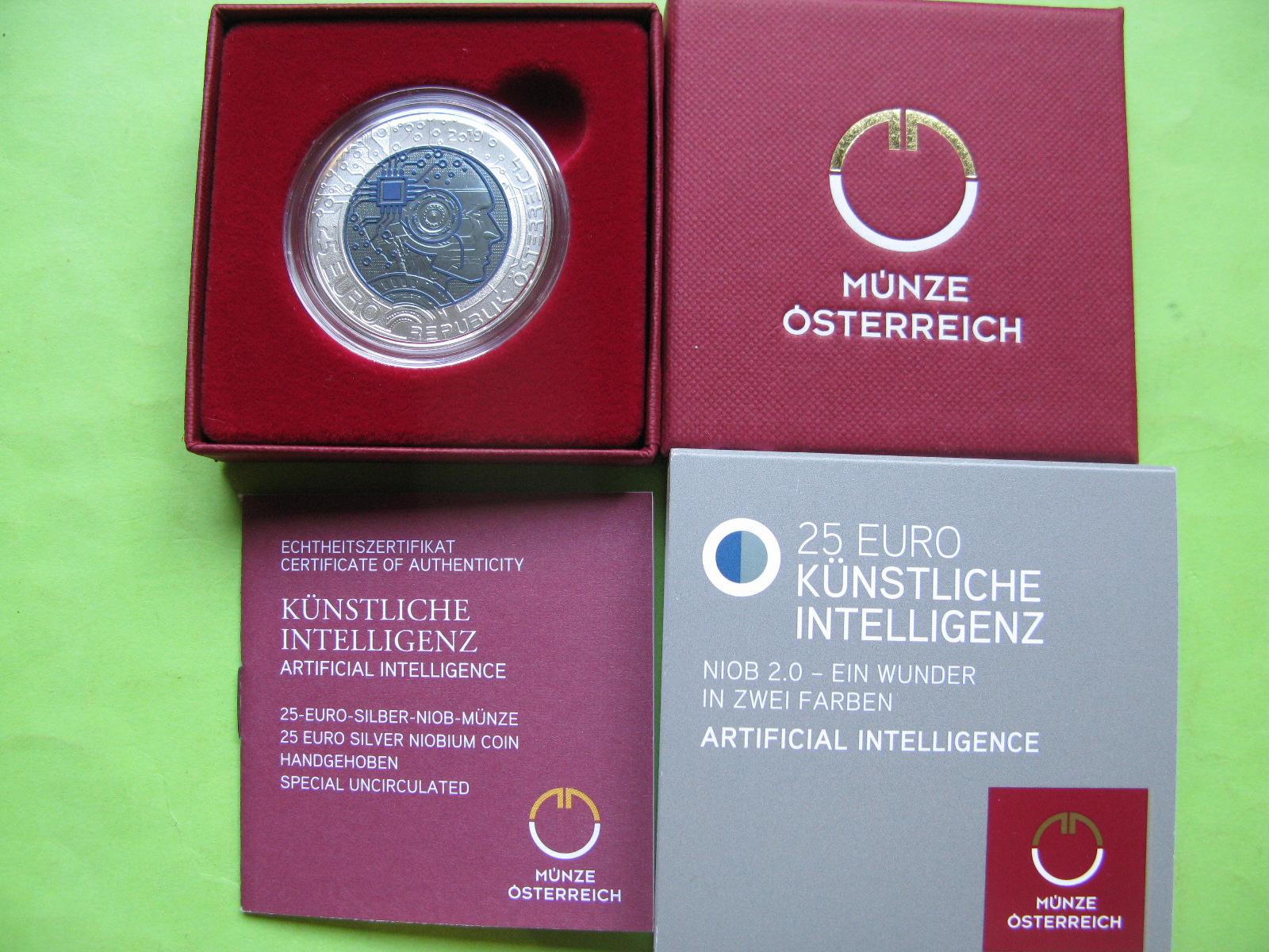 Австрия 25 евро 2019 г. Искусственный интеллект