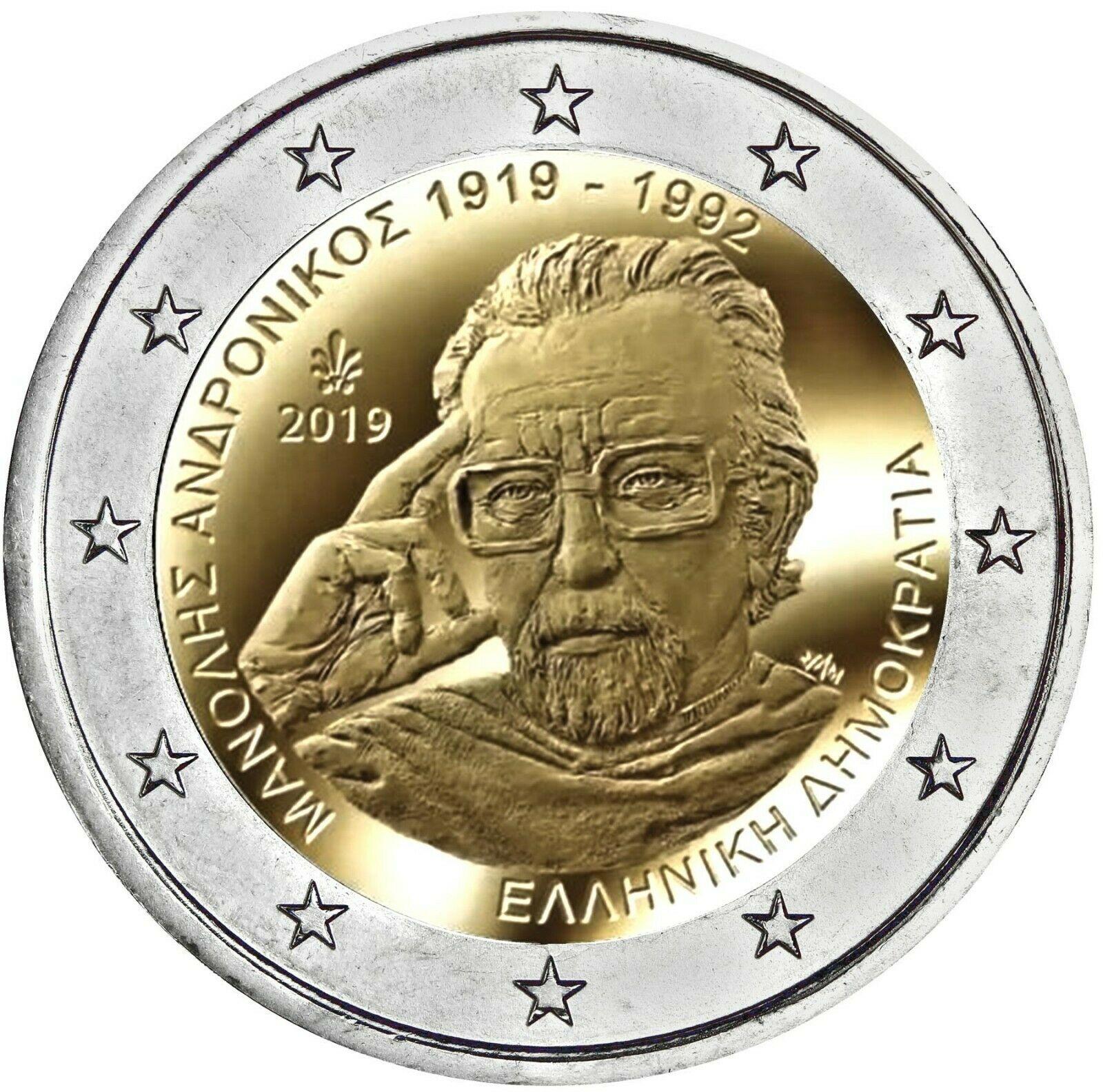 Греция 2 евро 2019 г. 100 лет со дня рождения Манолиса Андроникоса